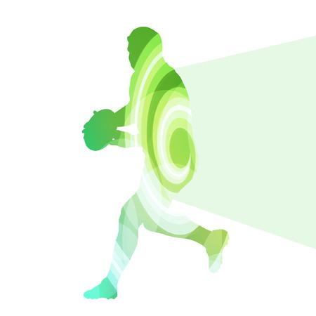 透明な曲面形状のラグビー プレーヤー男シルエット イラスト ベクター背景カラフルな概念を作った  イラスト・ベクター素材