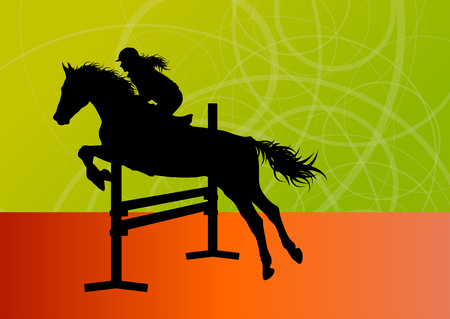 equestrian sport: Jumping horses with jockey equestrian sport vector background concept