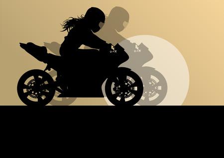 Motorcycle prestaties extreme stunt bestuurder vrouw vector, achtergrond, concept
