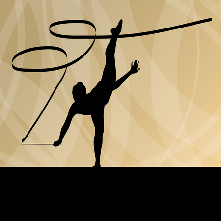 Kid girl with ribbon rhythmic gymnastics vector background concept for poster