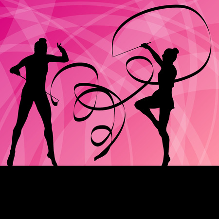 limber: Kid girl with ribbon rhythmic gymnastics vector background concept for poster