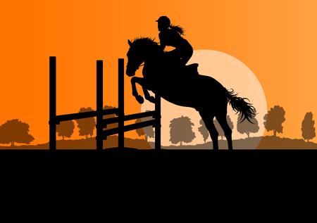 I cavalli con cavaliere sport equestre concetto sfondo vettoriale