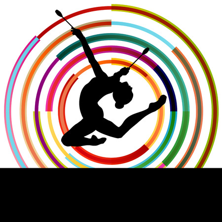 gymnastics sports: Female woman modern rhythmic gymnastics art with Indian clubs vector abstract background concept