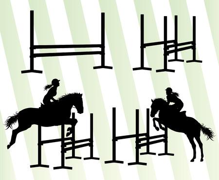 equestrian sport: Horses with jockey equestrian sport vector background concept set Illustration