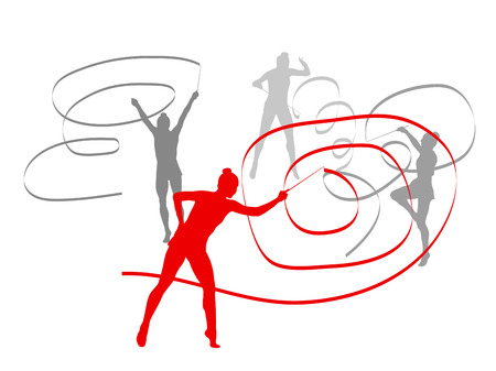 Woman with ribbon rhythmic gymnastics vector background winner concept isolated over white