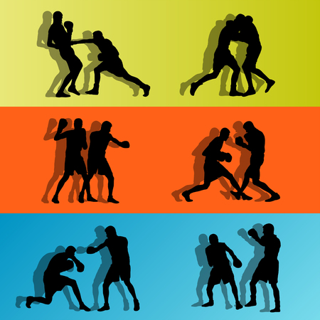 arts: Boxer boxing man in action sport vector background concept