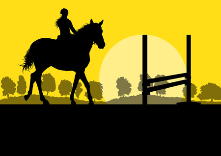 Horses with rider equestrian sport vector background concept Illustration