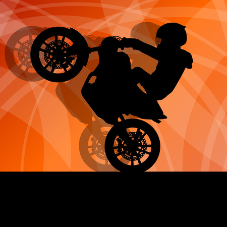 stunts: Motorcycle performance extreme stunt driver man vector background concept