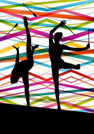 indian student: Female woman modern rhythmic gymnastics art with Indian clubs vector abstract background concept