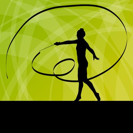 calisthenics: Kid girl with ribbon rhythmic gymnastics vector background concept for poster