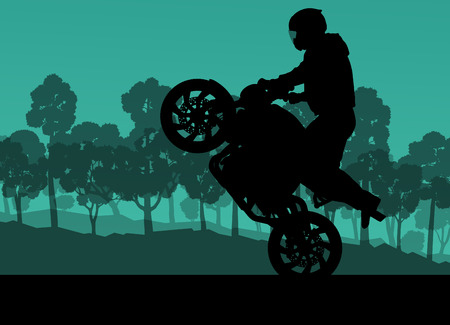 stunt: Motorcycle performance extreme stunt driver man vector background concept