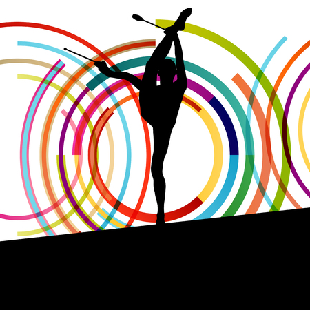 indian teenager: Female woman modern rhythmic gymnastics art with Indian clubs vector abstract background concept