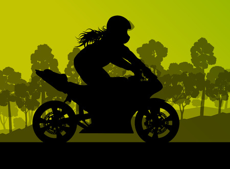 leather pants: Motorcycle performance extreme stunt driver woman vector background concept