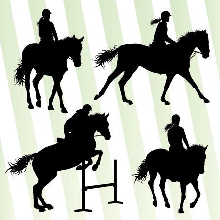 equestrian: Horses with jockey equestrian sport vector background concept set Illustration