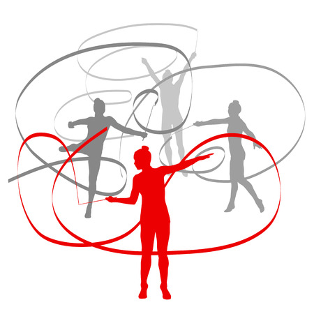 calisthenics: Woman with ribbon rhythmic gymnastics vector background winner concept isolated over white