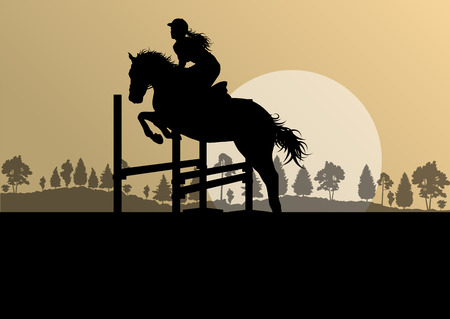 show jumping: Horses with rider equestrian sport vector background concept Illustration