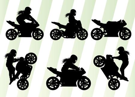 casco moto: El rendimiento de la motocicleta conductor especialista extrema vector de fondo concepto conjunto