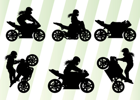 Motorcycle performance extreme stunt driver vector background concept set