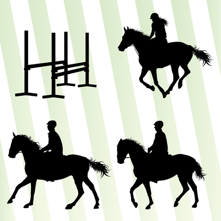 galloping: Horses with jockey equestrian sport vector background concept set Illustration