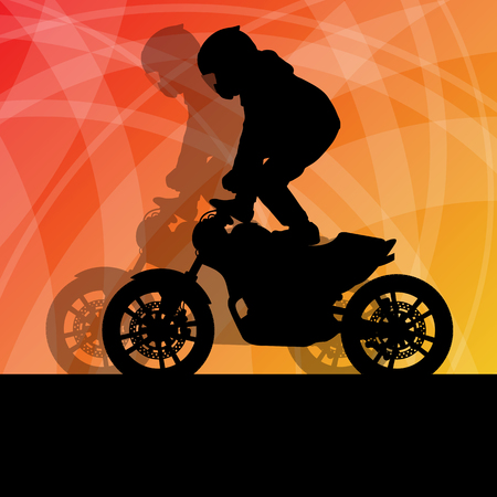 パフォーマンス: Motorcycle performance extreme stunt driver man vector background concept