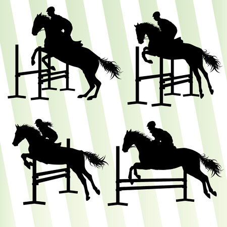 obstacles: Horses with jockey equestrian sport vector background concept set Illustration