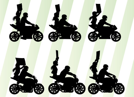 stunt: Motorcycle performance extreme stunt driver man and woman vector background concept set protest