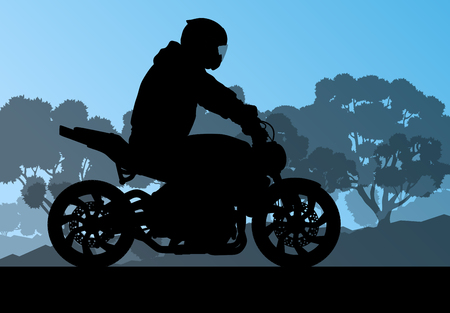 leather pants: Motorcycle performance extreme stunt driver man vector background concept