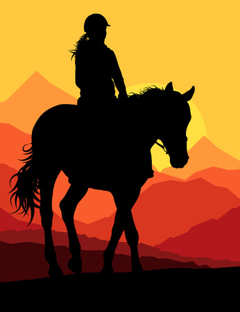 black cowgirl: Horse with rider countryside landscape equestrian sport vector background concept