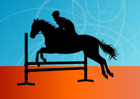 show jumping: Jumping horses with jockey equestrian sport vector background concept