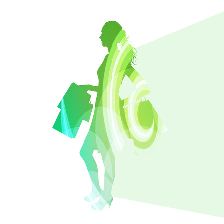 young girl nude: Woman with shopping bags silhouette illustration vector background colorful concept made of transparent curved shapes Illustration