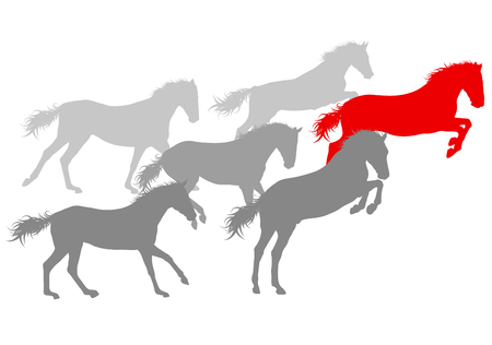 trotter: Wild horse fast and strong winner concept vector background isolated over white Illustration