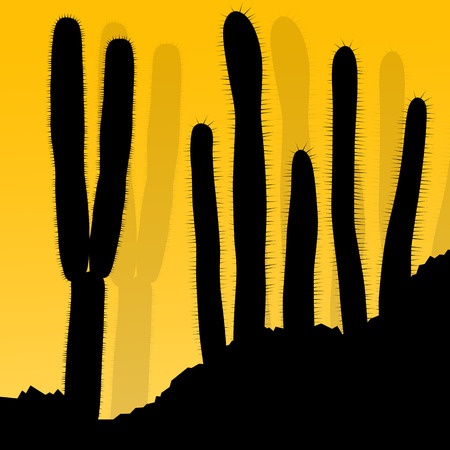 arid: Cactus silhouettes landscape desert vector background concept for poster