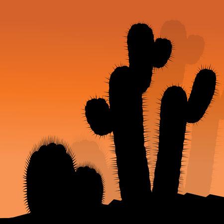 thorn bush: Cactus silhouettes landscape desert vector background concept for poster