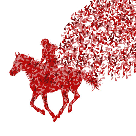 Horse rider made of fragments vector background concept isolated over white