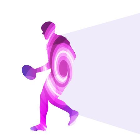silueta hombre: El jugador de rugby hombre silueta ilustración vectorial de fondo colorido concepto hecha de formas curvas transparentes Vectores
