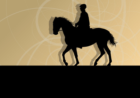 obstacles: Horses with jockey equestrian sport vector background concept Illustration
