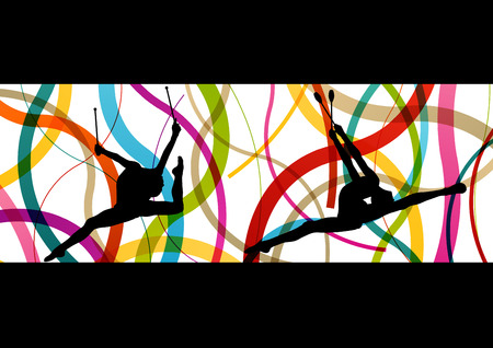 sporty: Female woman modern rhythmic gymnastics art with Indian clubs vector abstract background concept