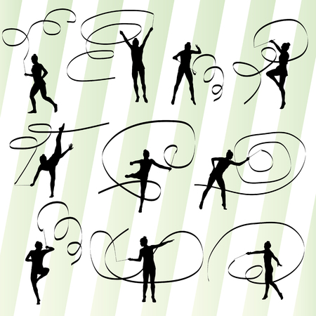 limber: Kid girl with ribbon rhythmic gymnastics vector background set