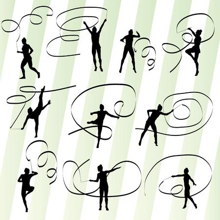 Kid girl with ribbon rhythmic gymnastics vector background set