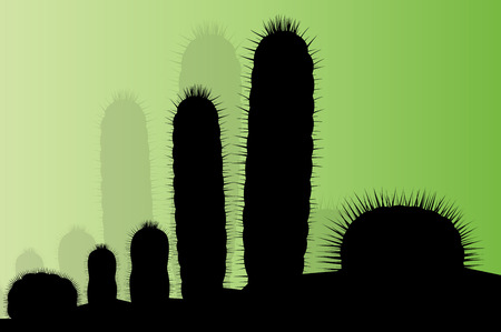 cactus cartoon: Cactus silhouettes landscape desert vector background concept for poster