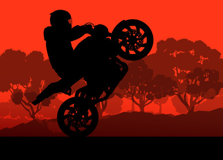 Motorcycle performance extreme stunt driver man vector background concept