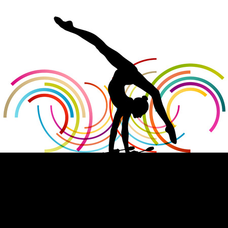 gymnastics: Female woman modern rhythmic gymnastics art with Indian clubs vector abstract background concept