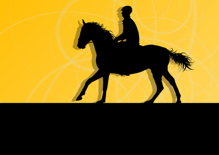 Horses with jockey equestrian sport vector background concept Illustration