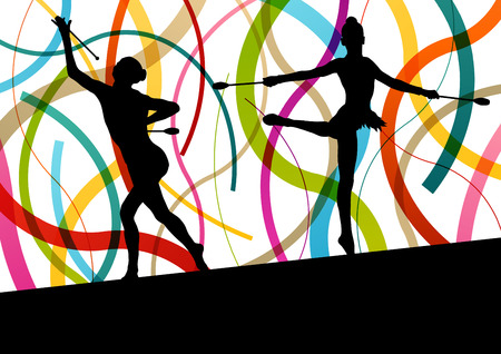 young: Female woman modern rhythmic gymnastics art with Indian clubs vector abstract background concept