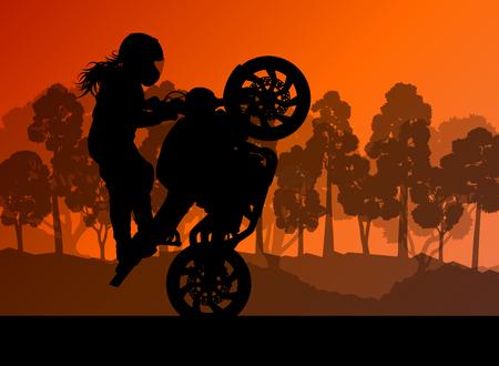 casco moto: El rendimiento de la motocicleta conductor especialista extrema concepto de fondo vector mujer