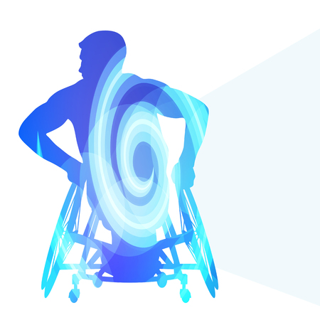 active life: Active disabled person wheelchair vector background concept