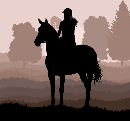 countryside: Horse with rider countryside landscape equestrian sport vector background concept