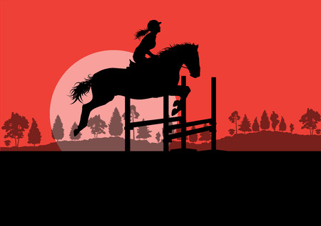 equestrian: Horses with rider equestrian sport vector background concept Illustration