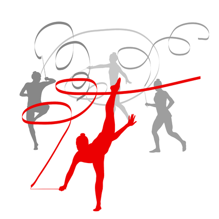 limber: Woman with ribbon rhythmic gymnastics vector background winner concept isolated over white