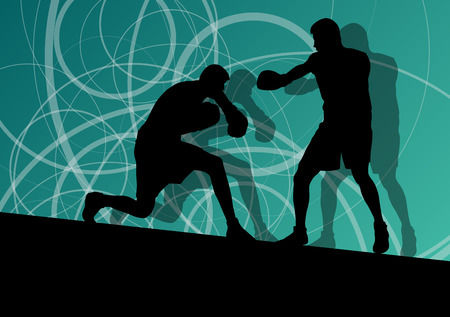 opponent: Boxer boxing man in action sport vector background concept